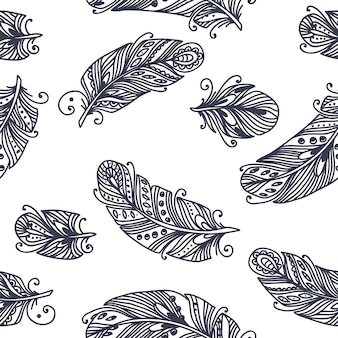 Motif de plumes sans couture vintage