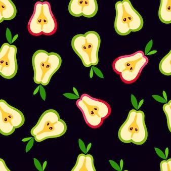 Motif de poire mignon. fond transparent de tranches de poires mûres