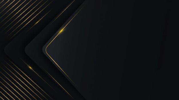 Motif polygonal abstrait sur un fond noir et gris avec des lignes d'or