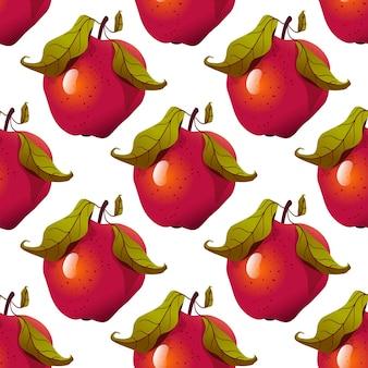 Motif de pomme. fruits rouges mûrs avec des feuilles.