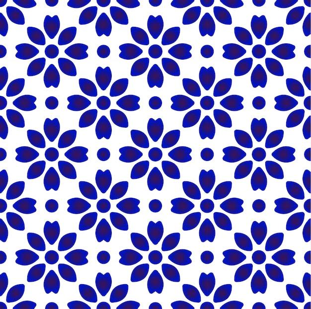 Motif de porcelaine de chine, design moderne de poterie en céramique chinoise bleue et blanche, papier peint indigo, décor sans couture chinaware
