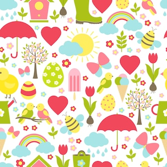 Motif de printemps sans couture assez délicat dans un design occupé avec des favoris emblématiques du printemps illustrant le temps