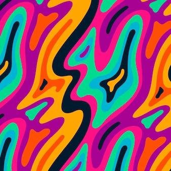 Motif psychédélique plat groovy dessiné à la main