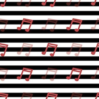 Motif rayé avec notes musicales