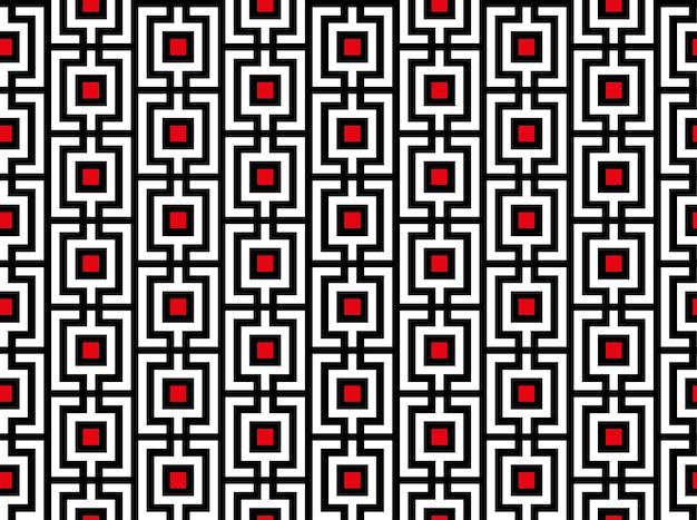 Motif rectangulaire rayé répétable sans couture géométrique avec des carrés rouges. cellule, grille avec fond de lignes. carrelage. texture géométrique en treillis. art vectoriel