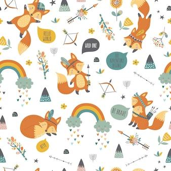 Motif de renard tribal mignon dessin animé sans couture enfantin.