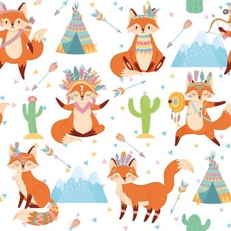 Motif de renard tribal sans soudure.