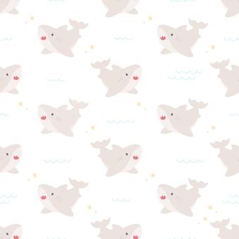 Motif répétitif sans couture de requin bébé mignon, fond de papier peint, fond de modèle sans couture mignon