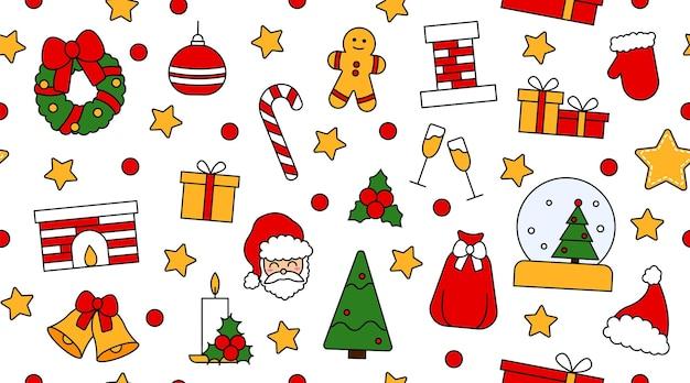 Motif répétitif sans couture avec des symboles de noël et de bonne année. dans un style traditionnel vintage pour carte postale, tissu, bannière, modèle de félicitations, papier d'emballage. plate illustration vectorielle.