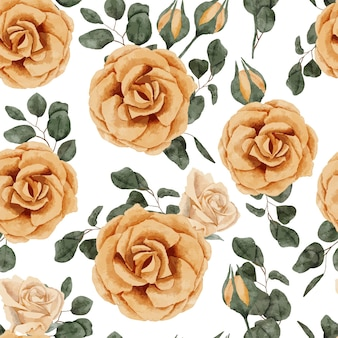 Motif de répétition aquarelle floral rose peint à la main de couleur jaune
