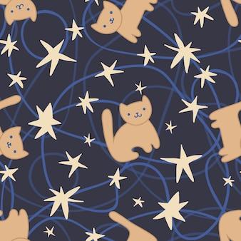 Motif de répétition sans couture avec des chats mignons, des étoiles et des lignes dessinées à la main. texture vecteur en style cartoon.