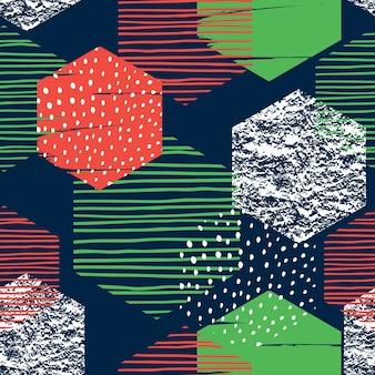 Motif de répétition sans soudure géométrique abstraite avec hexagones.