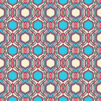 Motif rétro coloré abstrait avec feuilles et cadre