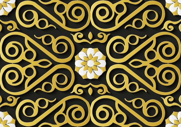 Motif rétro de décoration florale sans soudure