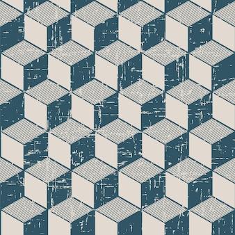 Motif rétro avec géométrie de ligne cubique