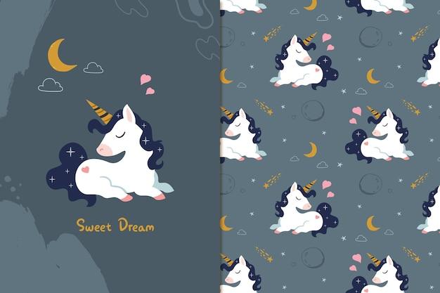 Motif de rêve doux licorne