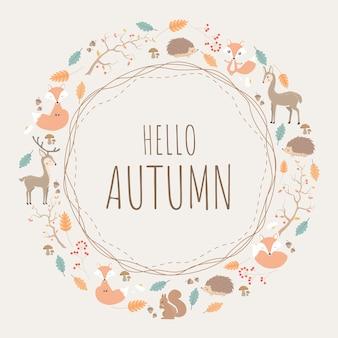 Motif rond d'automne fond avec des animaux