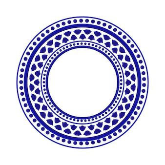 Motif rond bleu et blanc