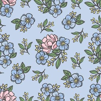 Motif rose croquis ajouré sans couture floral sur fond bleu clair avec des fleurs de renoncule et des compositions de roses ajourées pour l'illustration de vecteur de dessin animé d'impression