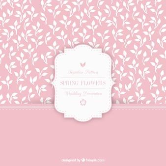 Motif rose avec dessinés à la main des feuilles blanches