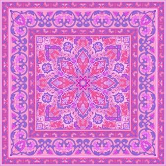 Motif rose avec des fleurs ornementales.