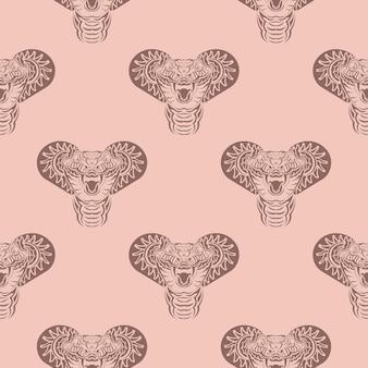 Motif rose sans couture avec des têtes de serpent.