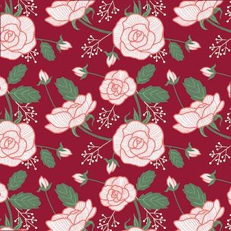 Motif de roses blanches