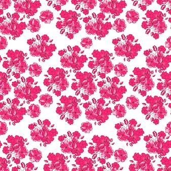 Motif saint valentin avec des fleurs de cerisier japonais