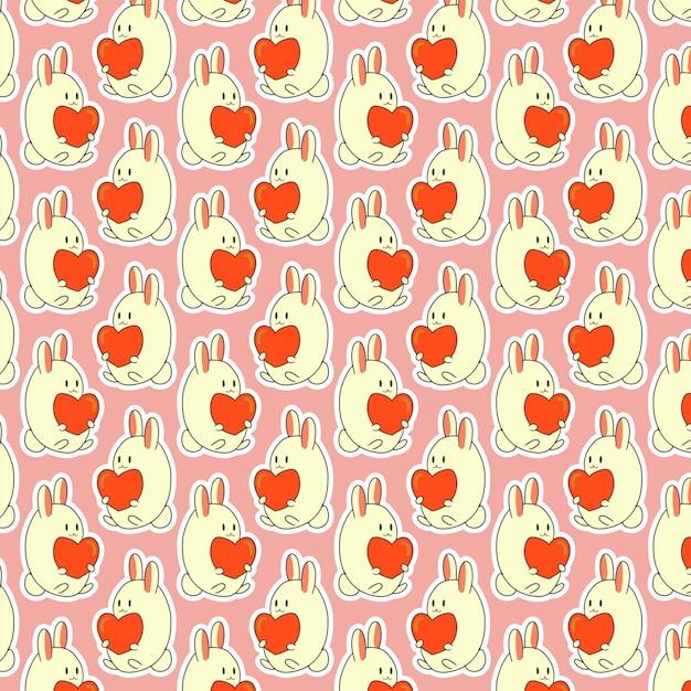 Motif de la saint-valentin avec joli lapin