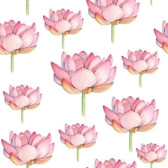 Motif sans couture d'aquarelle lotus