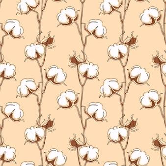 Motif sans couture de fleur de coton dans un dessin au trait continu. boule de fleur blanche dans le style de doodle de croquis. utilisé pour les invitations de mariage, papier peint, textile, papier d'emballage. illustration vectorielle