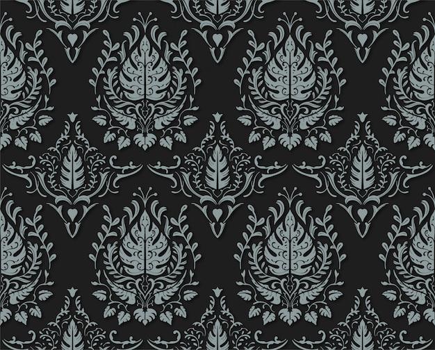 Motif sans couture floral décoratif noir mat