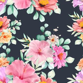 Motif Sans Couture Floral Et Feuilles Vecteur gratuit