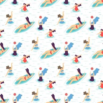 Motif sans couture de la motivation de fille de loisirs d'été
