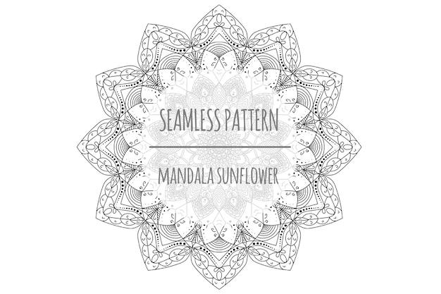 Motif sans couture de tournesol mandala