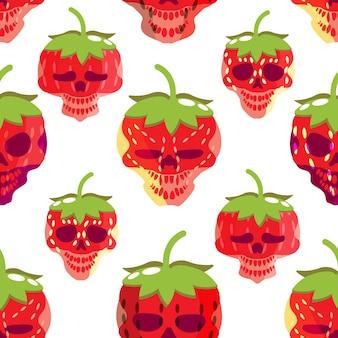 Motif sans couture unique de fraise et de crâne fantasmagorique images colorées conception de tissu emballage cadeau