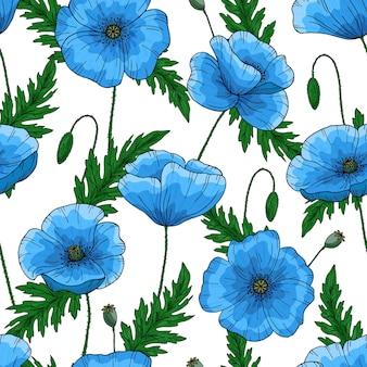 Motif sans faille avec des fleurs de pavot bleu. papaver. tiges et feuilles vertes. dessiné à la main