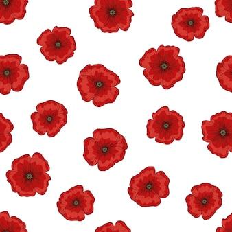 Motif sans faille avec des fleurs de pavot rouge. papaver. tiges et feuilles vertes. papier peint dessiné à la main
