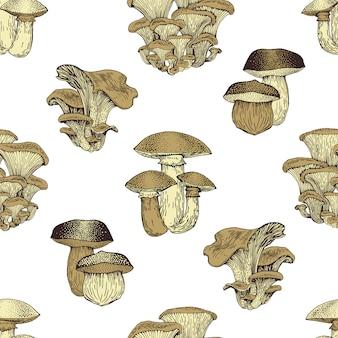 Motif de seamlees vecteur dessinés à la main aux champignons. croquis isolés aliments biologiques dessin de fond. fond vintage.