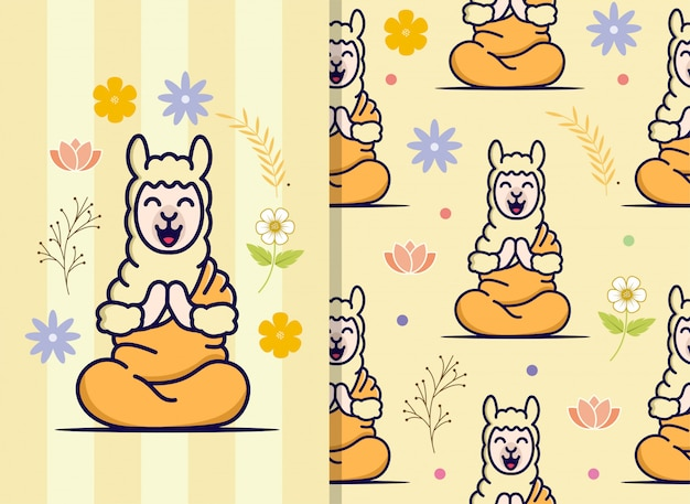 Le motif seamles avec un lama mignon utilise un costume de bouddha. motif de caractère mignon.