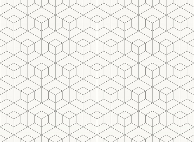 Motif à six pans creux dessin géométrique ligne noire d'arrière-plan tech.