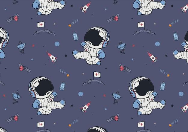 Motif spatial mignon astronautes