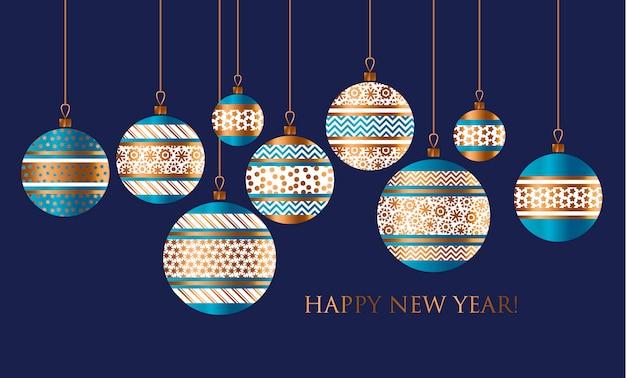 Motif stylisé de décor de boule de noël bleu et or pour carte, invitation, salutation