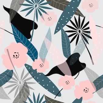 Motif de surface floral abstrait sans soudure