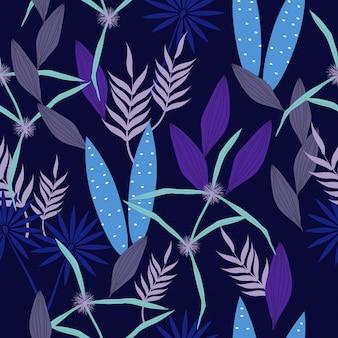 Motif de surface floral bleu abstrait sans soudure
