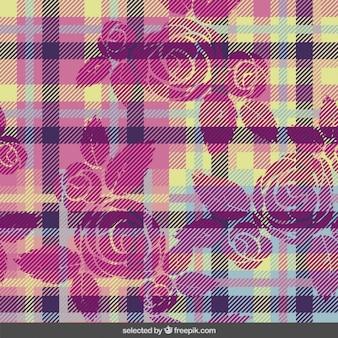 Motif tartan avec des fleurs