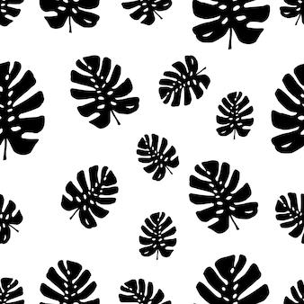 Motif tendance avec des feuilles tropicales silhouettes de monstera illustrations botaniques vectorielles florales