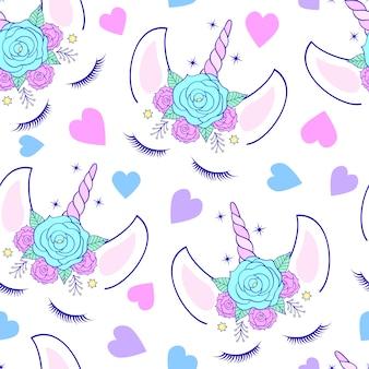 Motif avec tête de licorne