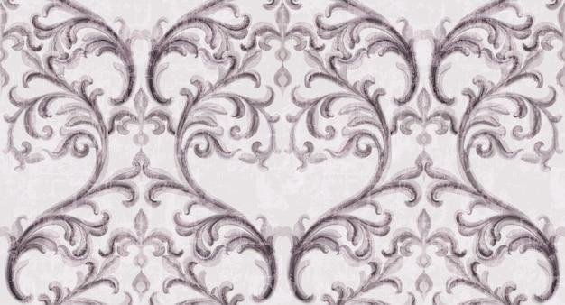 Motif de texture argent rococo avec ornements floraux