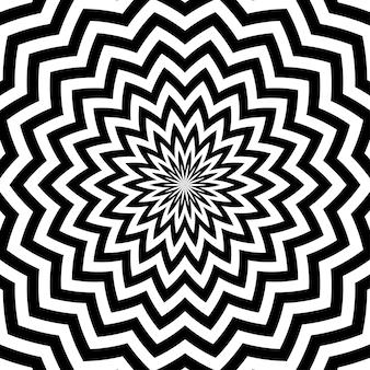 Motif ou texture de flocons de neige à rayures en zigzag circulaires noires et blanches.
